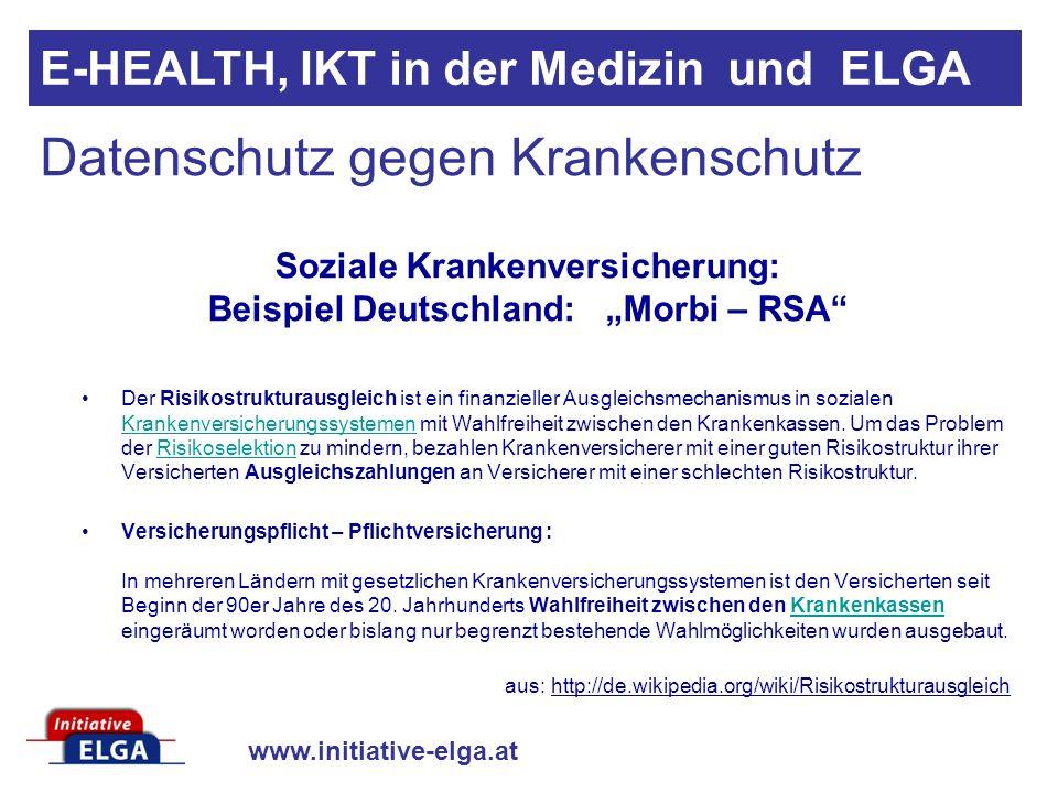 """Soziale Krankenversicherung: Beispiel Deutschland: """"Morbi – RSA"""