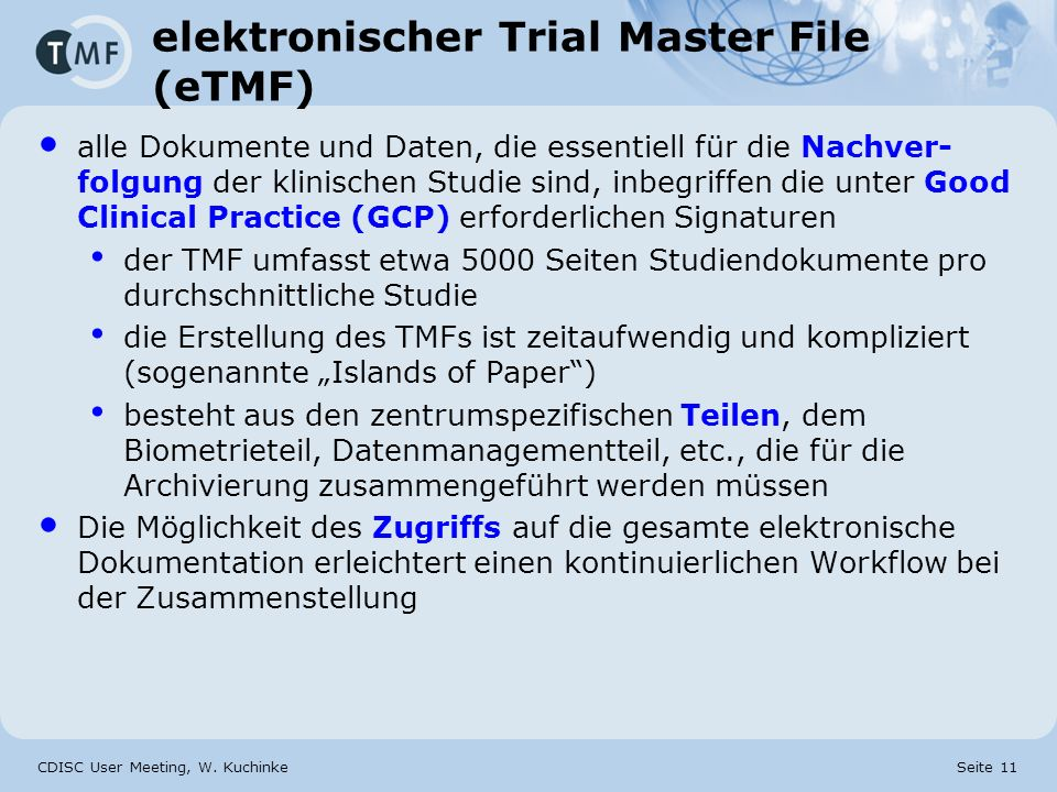 elektronischer Trial Master File (eTMF)