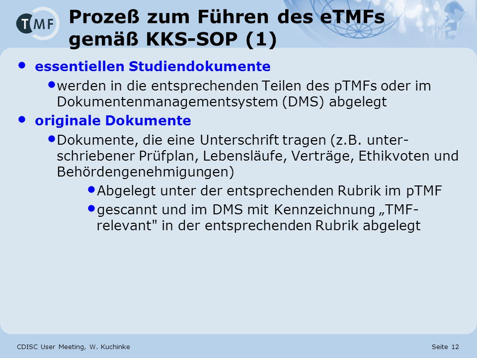 Prozeß zum Führen des eTMFs gemäß KKS-SOP (1)