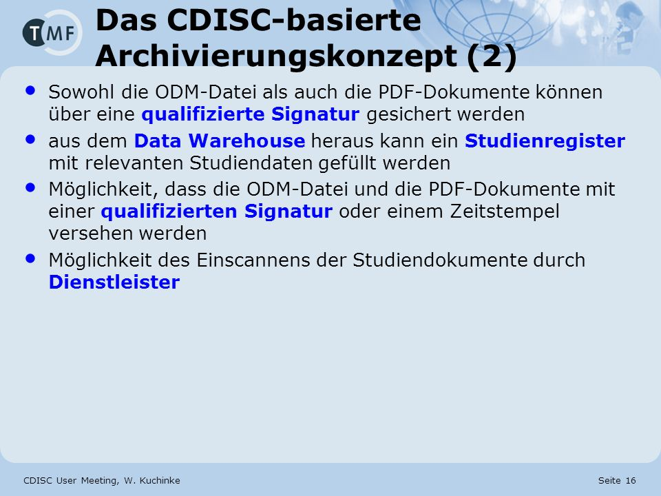 Das CDISC-basierte Archivierungskonzept (2)