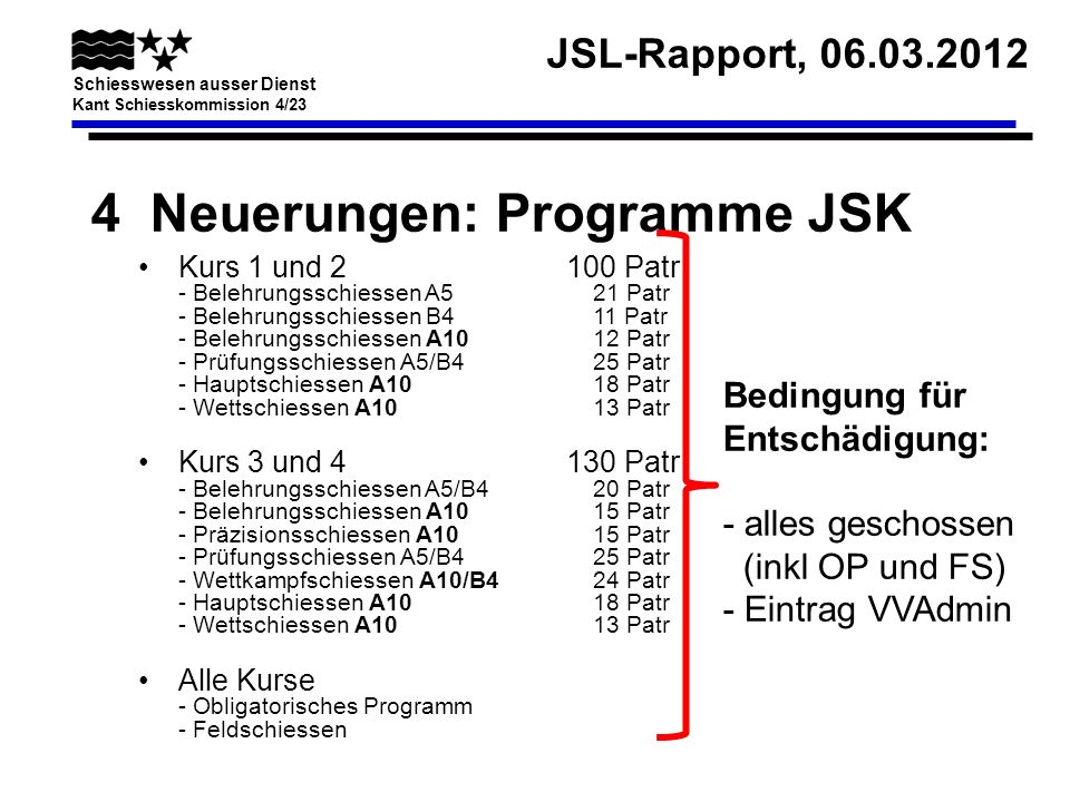 4 Neuerungen: Programme JSK