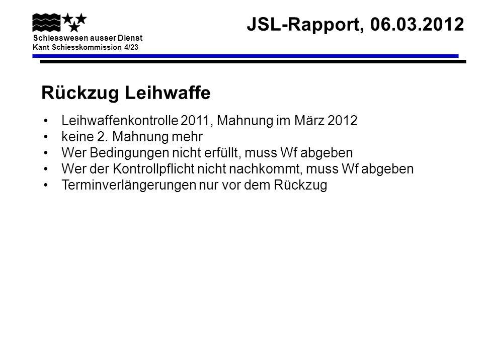 Rückzug Leihwaffe Leihwaffenkontrolle 2011, Mahnung im März 2012