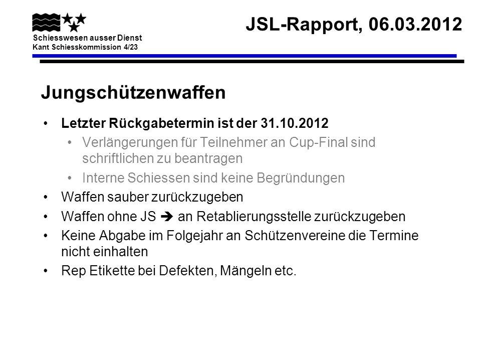 Jungschützenwaffen Letzter Rückgabetermin ist der 31.10.2012