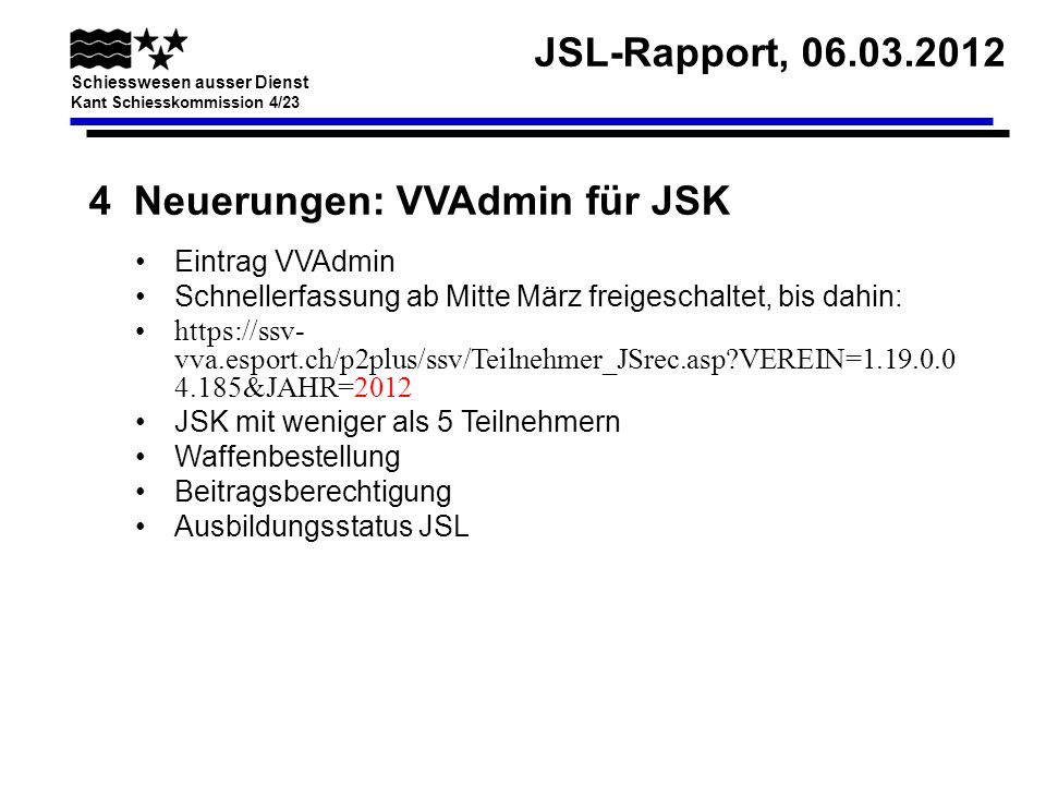 4 Neuerungen: VVAdmin für JSK
