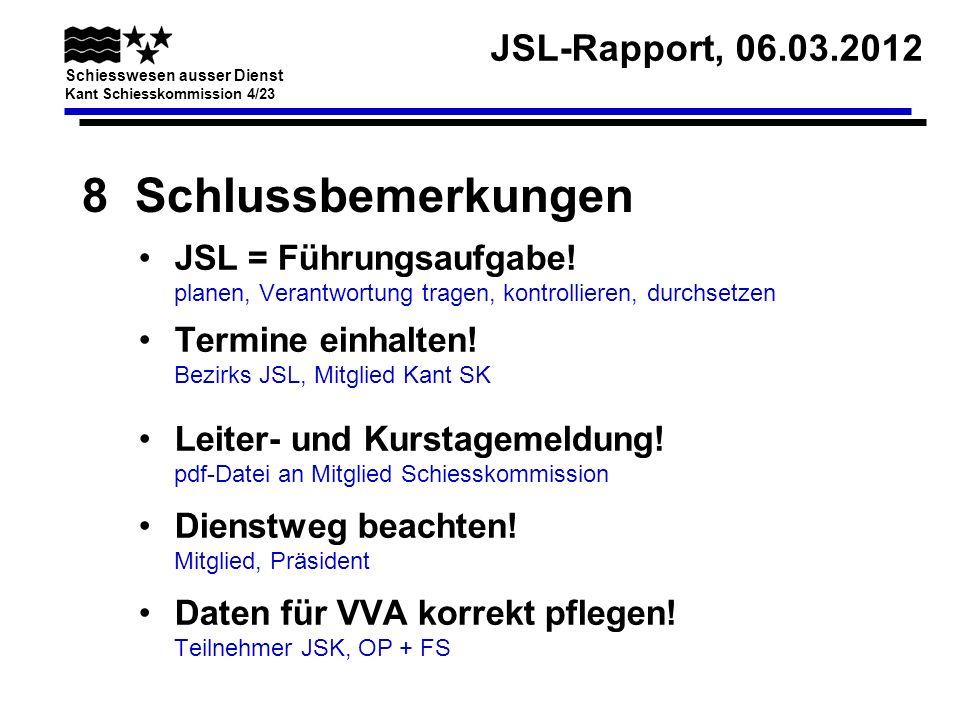 8 Schlussbemerkungen JSL = Führungsaufgabe! planen, Verantwortung tragen, kontrollieren, durchsetzen.