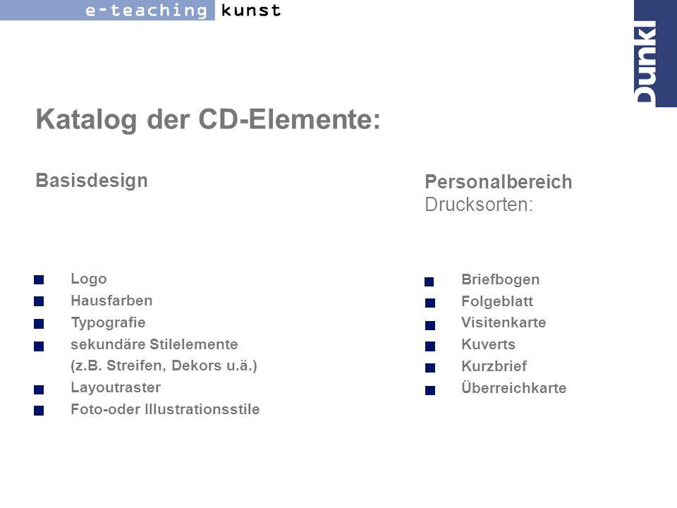 Katalog der CD-Elemente: Basisdesign
