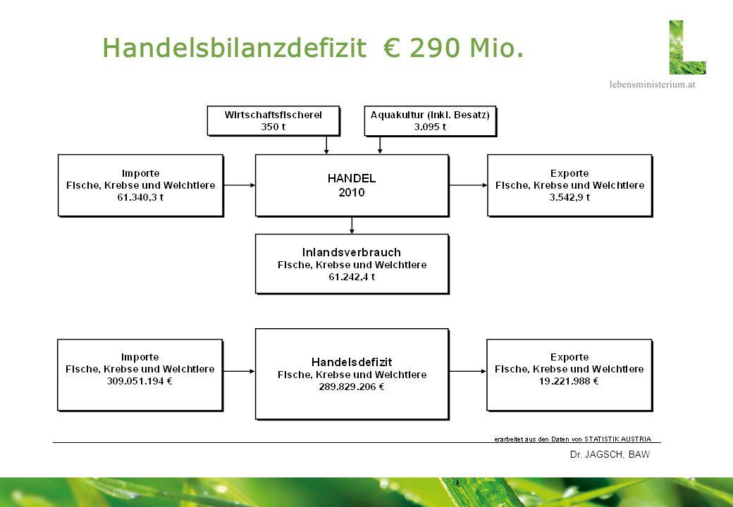 Handelsbilanzdefizit € 290 Mio.