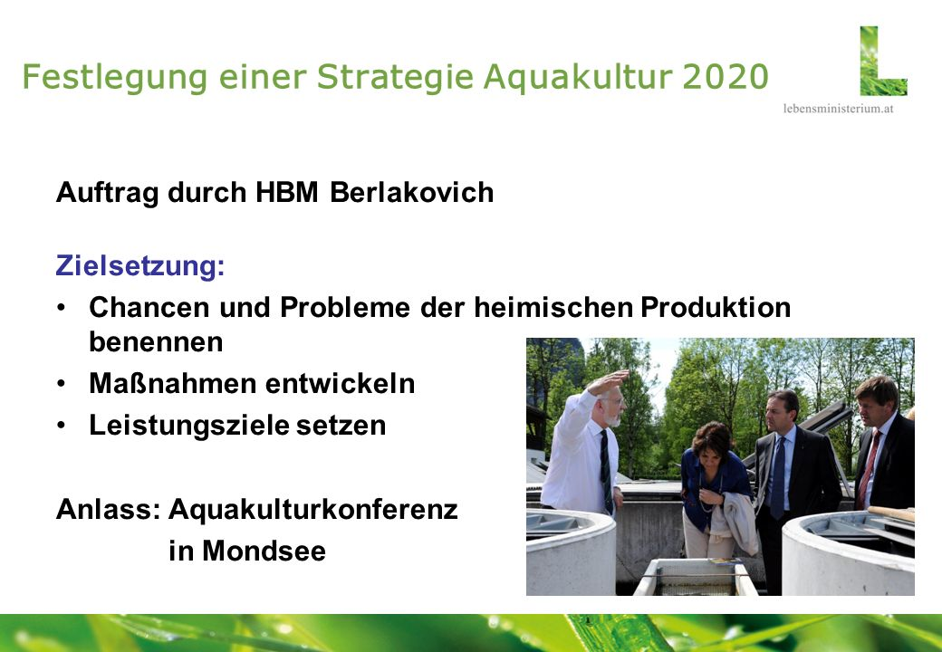 Festlegung einer Strategie Aquakultur 2020