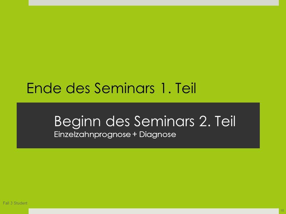 Beginn des Seminars 2. Teil Einzelzahnprognose + Diagnose