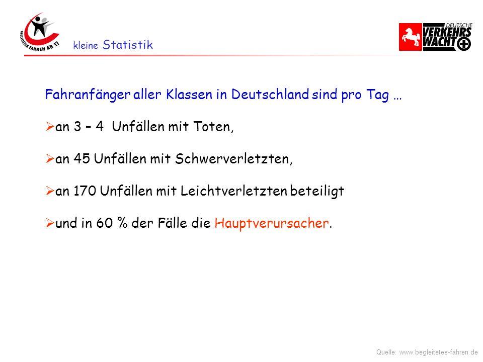 Fahranfänger aller Klassen in Deutschland sind pro Tag …
