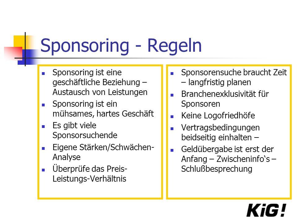 Sponsoring - Regeln Sponsoring ist eine geschäftliche Beziehung – Austausch von Leistungen. Sponsoring ist ein mühsames, hartes Geschäft.