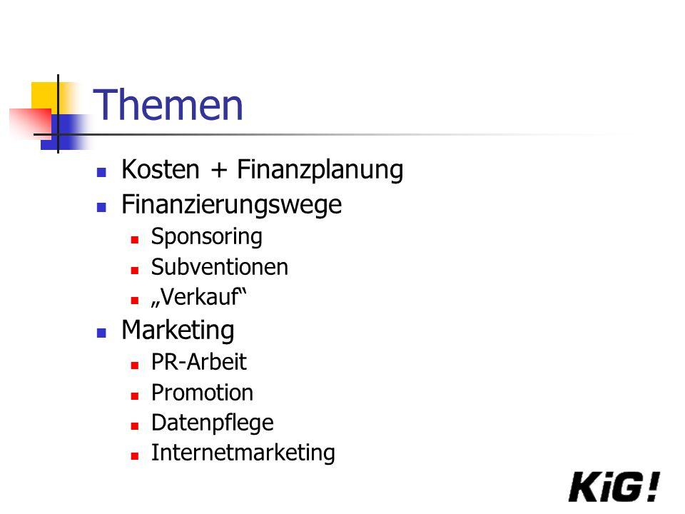 Themen Kosten + Finanzplanung Finanzierungswege Marketing Sponsoring