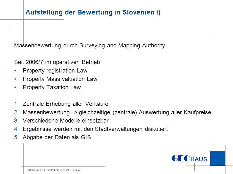 Aufstellung der Bewertung in Slovenien I)