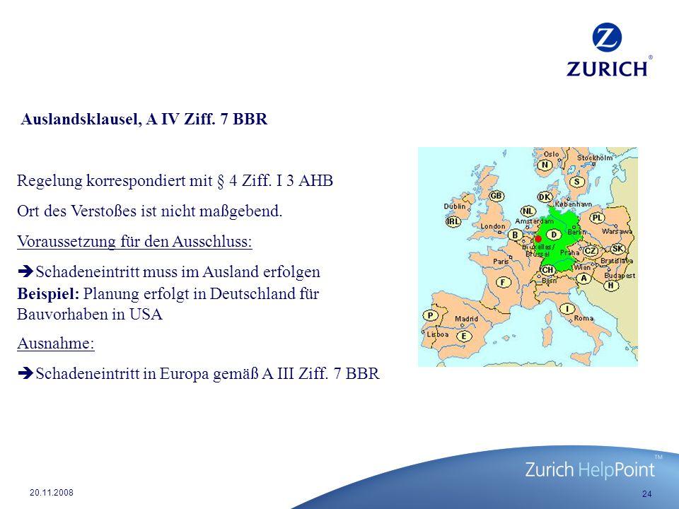 Auslandsklausel, A IV Ziff. 7 BBR