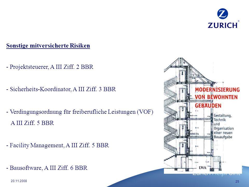Sonstige mitversicherte Risiken - Projektsteuerer, A III Ziff. 2 BBR