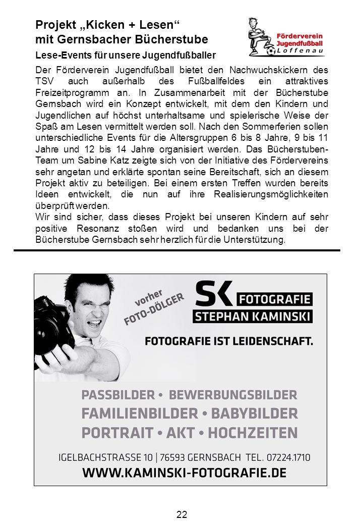 """Projekt """"Kicken + Lesen mit Gernsbacher Bücherstube"""