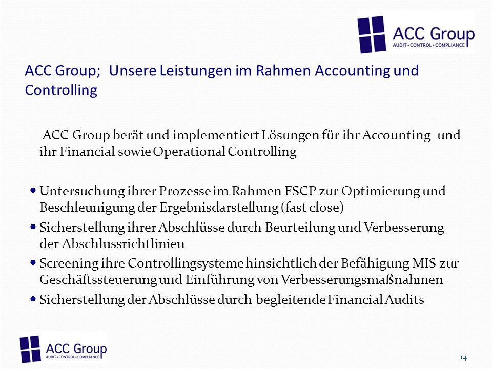 ACC Group; Unsere Leistungen im Rahmen Accounting und Controlling
