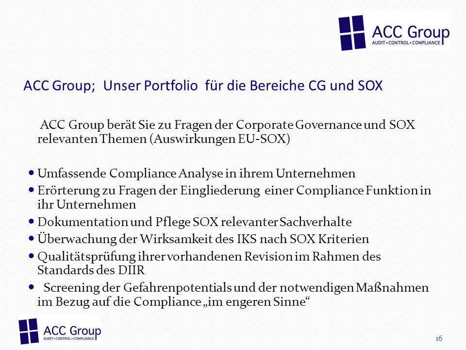 ACC Group; Unser Portfolio für die Bereiche CG und SOX