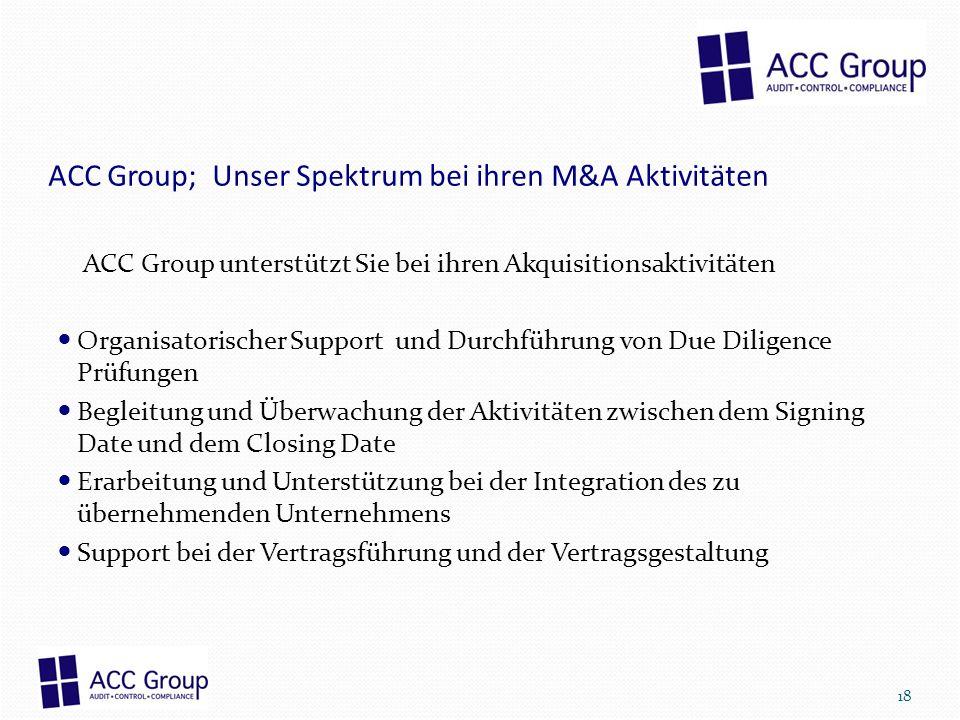 ACC Group; Unser Spektrum bei ihren M&A Aktivitäten