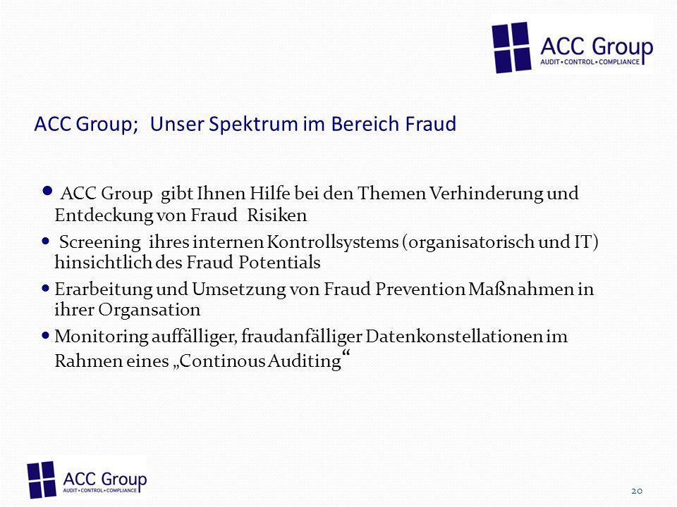 ACC Group; Unser Spektrum im Bereich Fraud