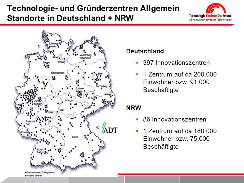 Technologie- und Gründerzentren Allgemein Standorte in Deutschland + NRW