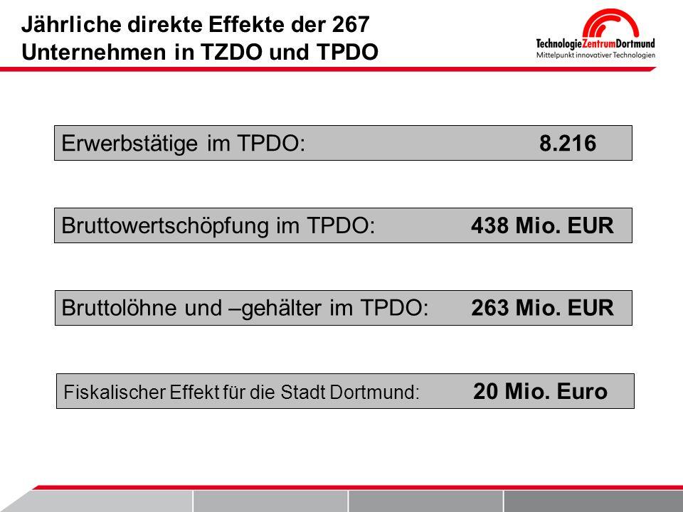 Jährliche direkte Effekte der 267 Unternehmen in TZDO und TPDO