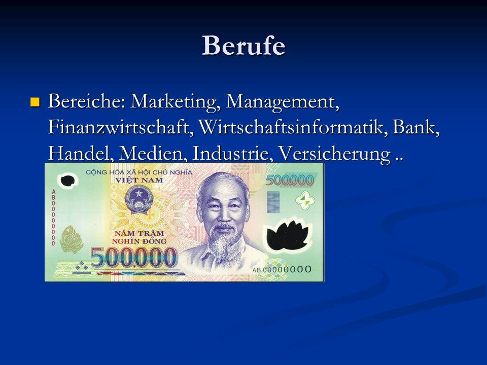 Berufe Bereiche: Marketing, Management, Finanzwirtschaft, Wirtschaftsinformatik, Bank, Handel, Medien, Industrie, Versicherung ..
