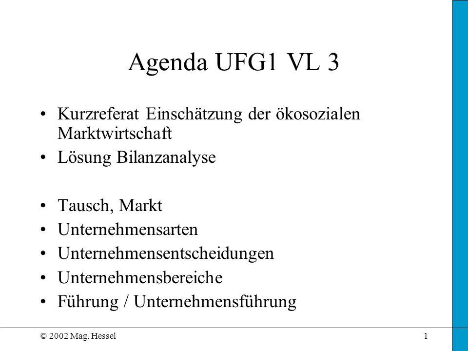 Agenda UFG1 VL 3 Kurzreferat Einschätzung der ökosozialen Marktwirtschaft. Lösung Bilanzanalyse. Tausch, Markt.
