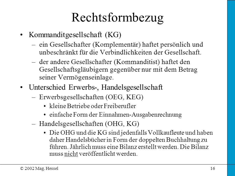 Rechtsformbezug Kommanditgesellschaft (KG)