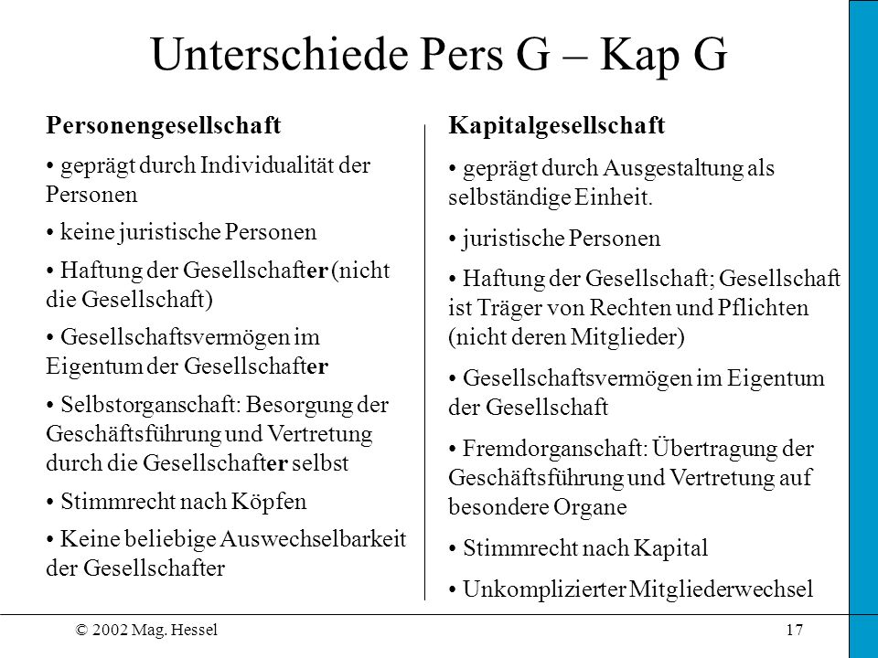 Unterschiede Pers G – Kap G