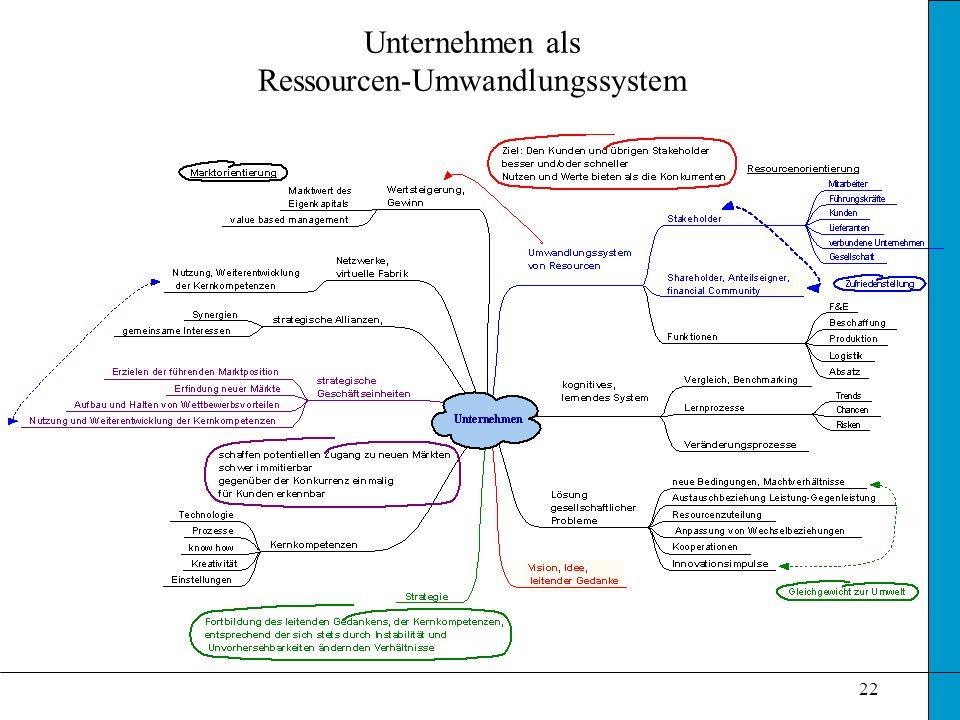 Unternehmen als Ressourcen-Umwandlungssystem