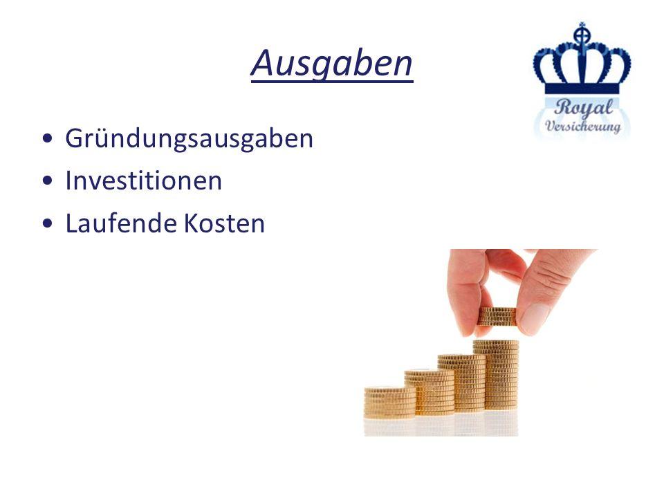 Ausgaben Gründungsausgaben Investitionen Laufende Kosten