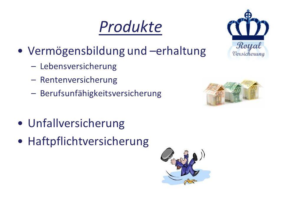 Produkte Vermögensbildung und –erhaltung Unfallversicherung
