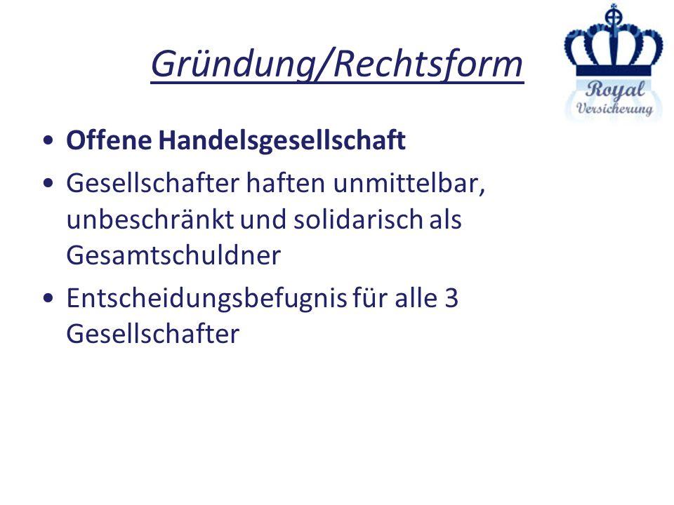 Gründung/Rechtsform Offene Handelsgesellschaft