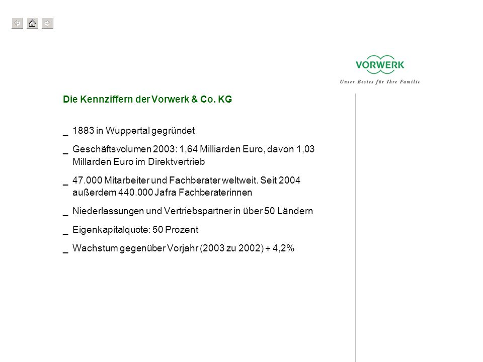 Die Kennziffern der Vorwerk & Co. KG