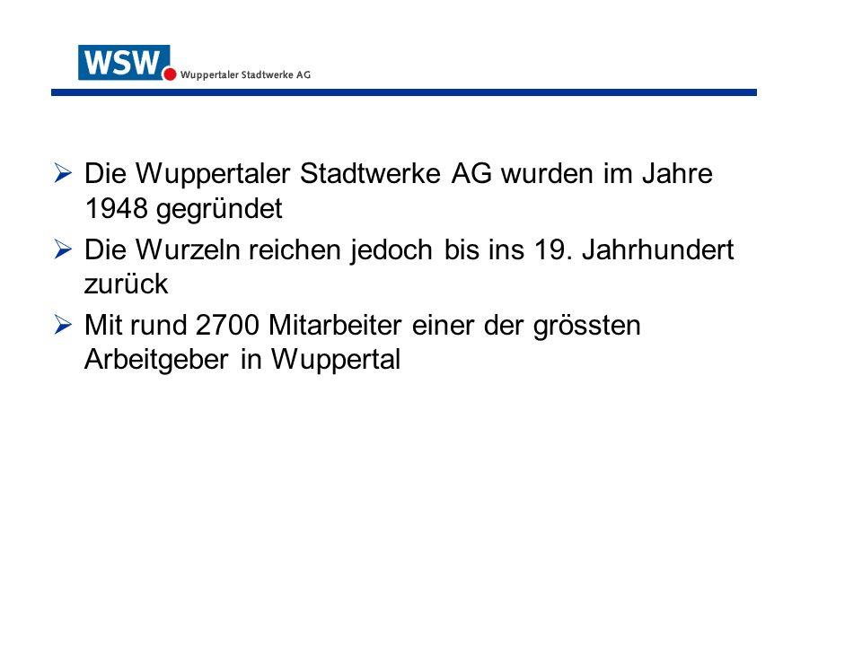 Die Wuppertaler Stadtwerke AG wurden im Jahre 1948 gegründet