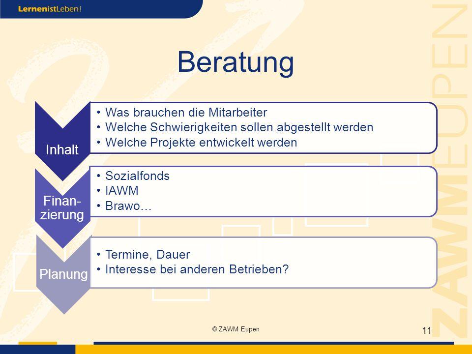 Beratung Inhalt Finan-zierung Planung © ZAWM Eupen