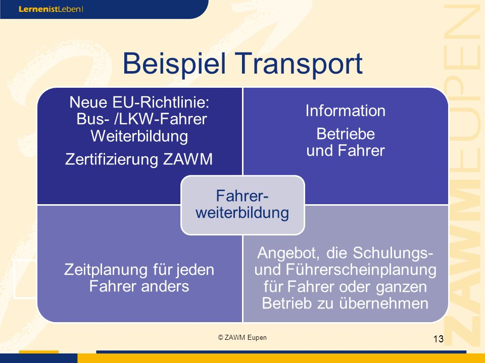 Beispiel Transport Neue EU-Richtlinie: Bus- /LKW-Fahrer Weiterbildung
