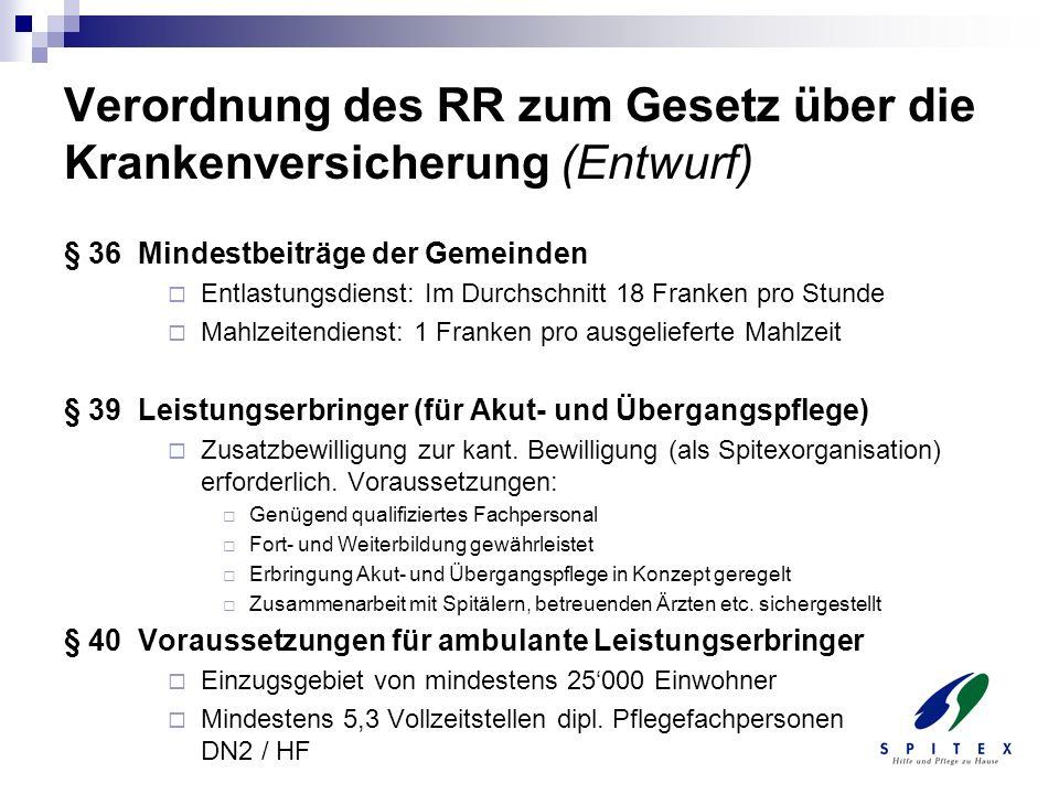 Verordnung des RR zum Gesetz über die Krankenversicherung (Entwurf)