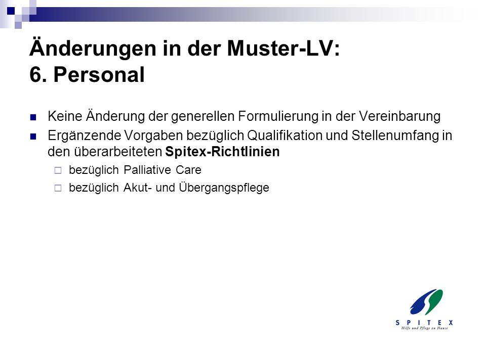 Änderungen in der Muster-LV: 6. Personal
