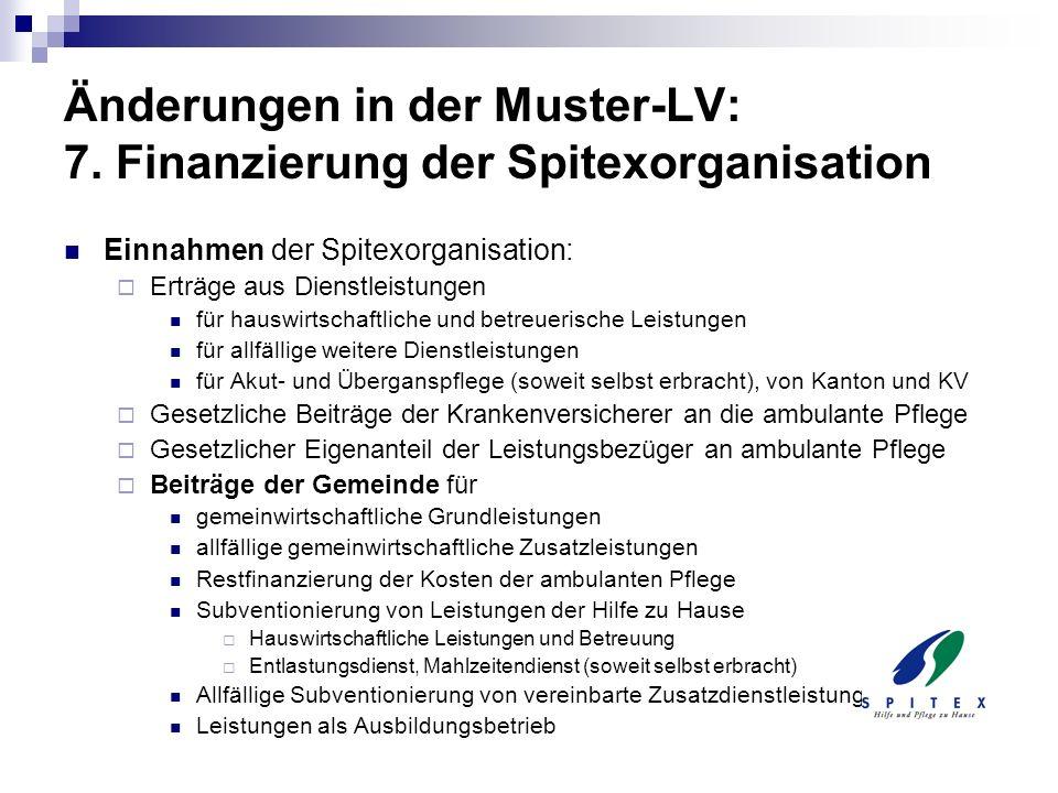 Änderungen in der Muster-LV: 7. Finanzierung der Spitexorganisation