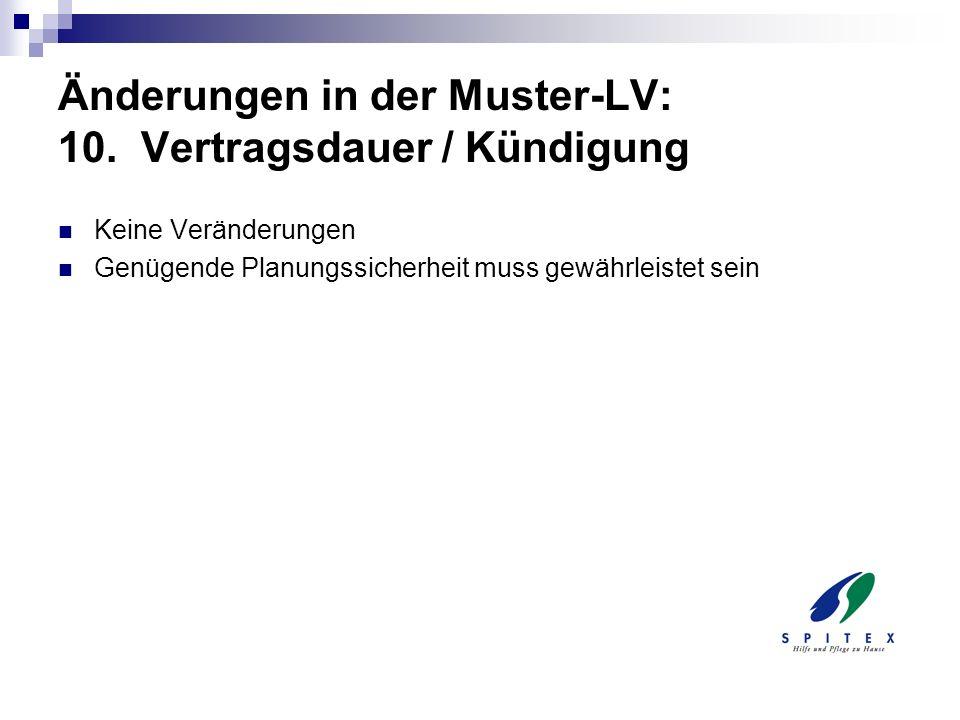 Änderungen in der Muster-LV: 10. Vertragsdauer / Kündigung