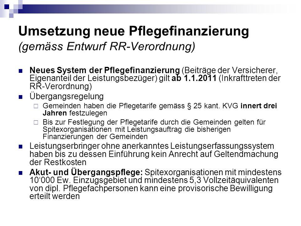 Umsetzung neue Pflegefinanzierung (gemäss Entwurf RR-Verordnung)