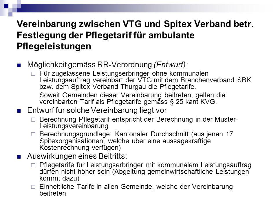 Vereinbarung zwischen VTG und Spitex Verband betr