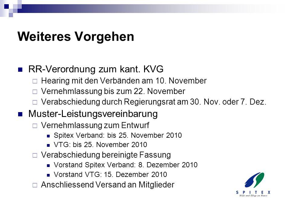 Weiteres Vorgehen RR-Verordnung zum kant. KVG