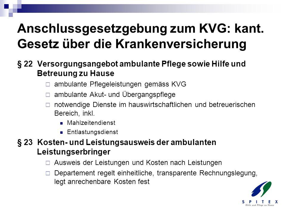 Anschlussgesetzgebung zum KVG: kant