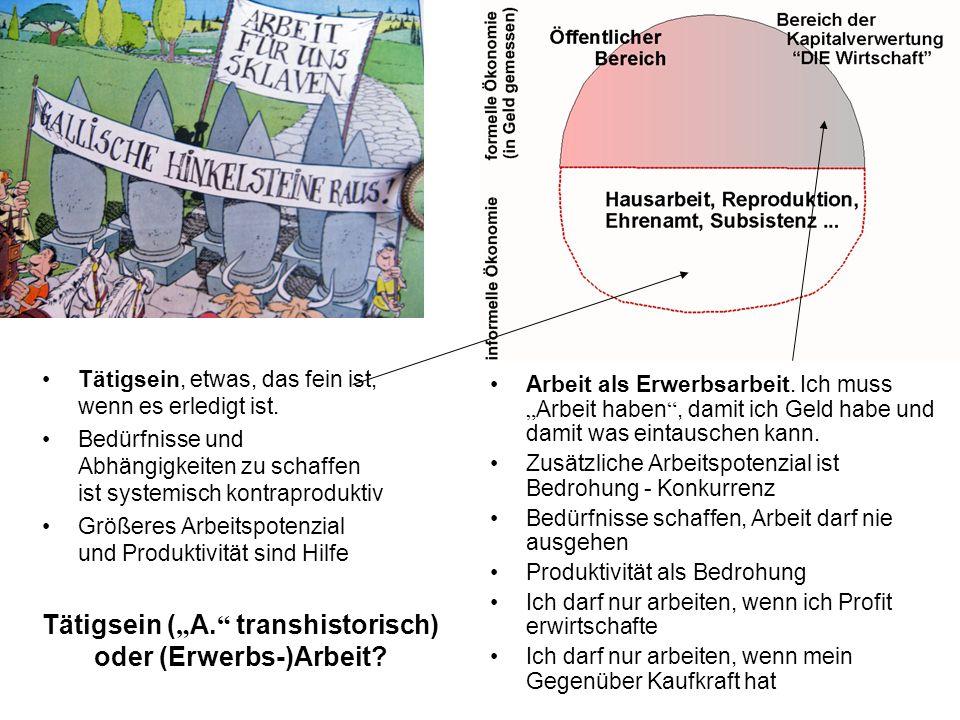"""Tätigsein (""""A. transhistorisch) oder (Erwerbs-)Arbeit"""