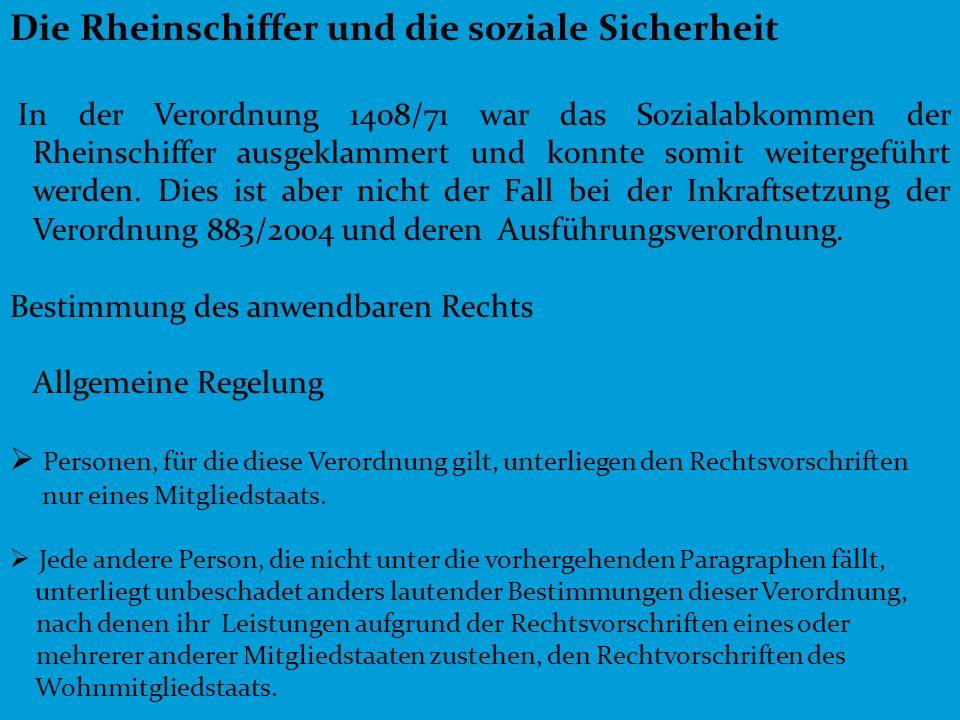 Die Rheinschiffer und die soziale Sicherheit