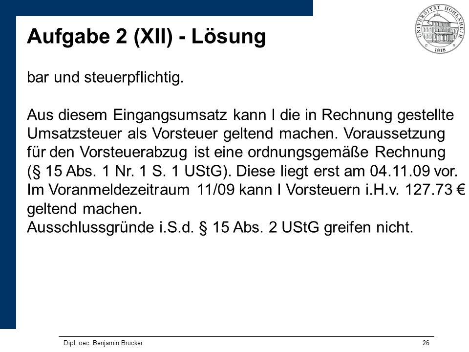Aufgabe 2 (XII) - Lösung bar und steuerpflichtig.