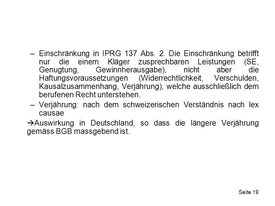 Einschränkung in IPRG 137 Abs. 2